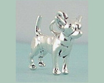 Chihuahua Dog Charm Sterling Silver Pendant 3D Pet Animal Doggie