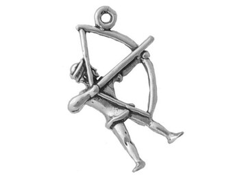 Archer Archery Charm Sterling Silver Bow and Arrow Pendant 3d
