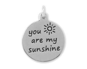 You are my Sunshine Charm 925 Sterling Silver Pendant Round Sun Words