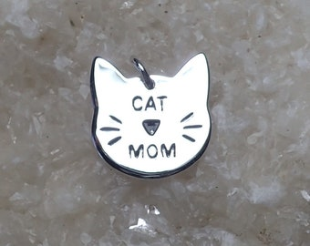 Cat Mom Charm Sterling Silver Rhodium Plated Pendant Pet Whiskers
