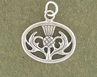 Sterling Silver Thistle Charm Pendant Oval Scottish Scotland Plant Flower