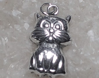 Cute Cat Charm Sterling Silver Pendant Pet Whiskers