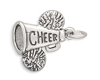 Sterling Silver Cheerleader Pom Poms Megaphone Charm Pendant Cheer Sport