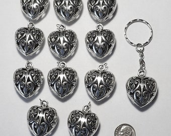 Set of 12 Puffy Filigree Heart Pendant Pewter with Antique Silver Tone Finish Large