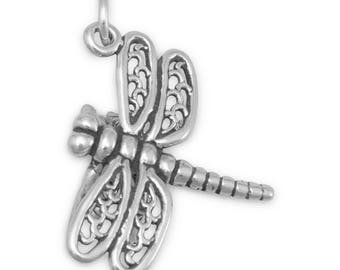 Sterling Silver Dragonfly Charm Pendant Garden Insect Animal
