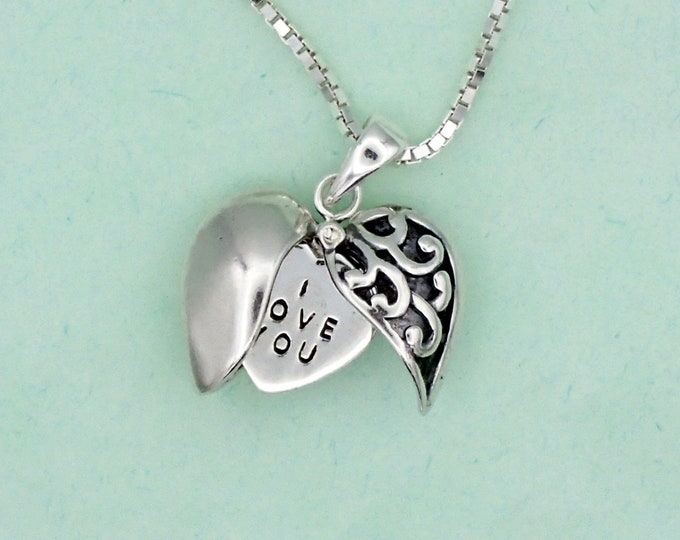 Featured listing image: Secret Message Heart Necklace Sterling Silver I Love You Charm Pendant Box Chain