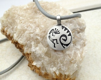 Kokopelli Pendant Necklace Leather Charm Stainless Steel Magnetic Clasp