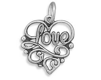 Sterling Silver Heart Love Charm Pendant Filigree