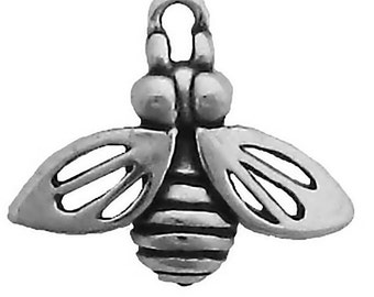 Sterling Silver Bee Charm Bumble Honey Pendant Insect Garden