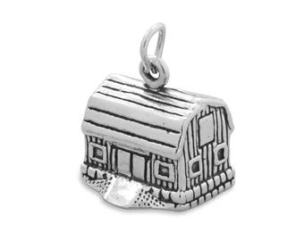 Sterling Silver Barn Charm Pendant 3d Farm Dairy