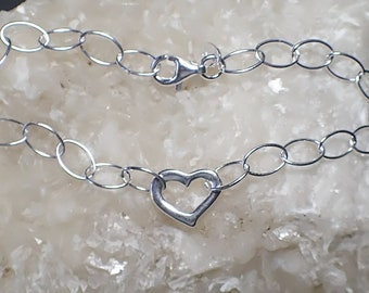 "7"" Heart Charm Bracelet Sterling Silver Oval Cable Chain"