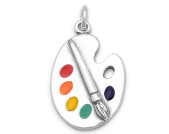 Sterling Silver Art Paint Palette Charm Pendant Multicolor Artist Hobby Craft
