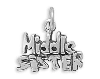 Middle Sister Charm 925 Sterling Silver Pendant Words Family Sibling