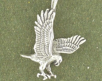 Sterling Silver Eagle Charm Pendant Hawk Falcon Bird