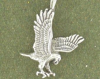 Sterling Silver Eagle Charm Pendant Hawk Falcon Bird