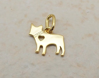 French Bulldog Charm Gold Plated Sterling Silver Cut Out Heart Dog Lover's Pendant