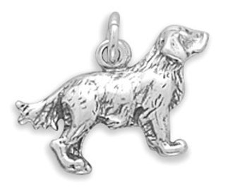 Sterling Silver Golden Retriever Charm Pendant 3D Dog Pet Animal