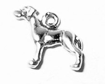 Sterling Silver Great Dane Dog Charm Pendant MINI Animal Pet 3D