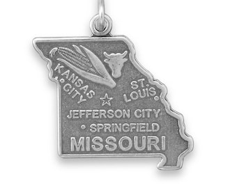 Sterling Silver Missouri State Charm America Cow Corn Show-Me St. Louis