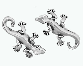 Gecko Lizard Earrings Sterling Silver Posts Studs Tiny Mini Animal Southwest
