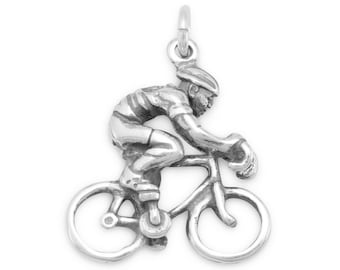 Sterling Silver Cyclist Bicycle Rider Charm Pendant Sport Race 3D