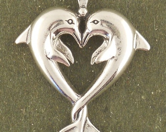 Sterling Silver Dolphin Charm Dolphins Heart Pendant