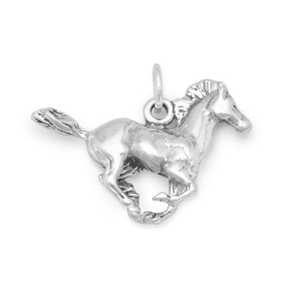 Sterling Silver Charm Bracelet With Attached Stallion Horse Head Horseshoe Charm