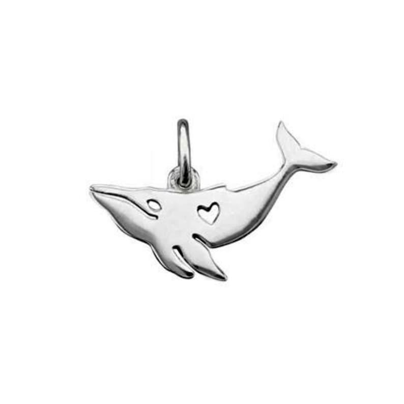 Cut Out Heart Whale Charm Sterling Silver Pendant Fluke Ocean Marine Life