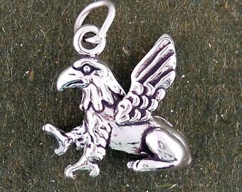 Sterling Silver Gryphon Griffin Charm 3d Griffon Pendant