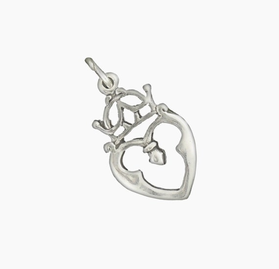 Scottish Celtic Heart Crown Luckenbooth .925 Sterling Silver Charm MADE IN USA