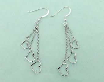 Heart Earrings Sterling Silver French Hooks 3 Dangling Hearts Love