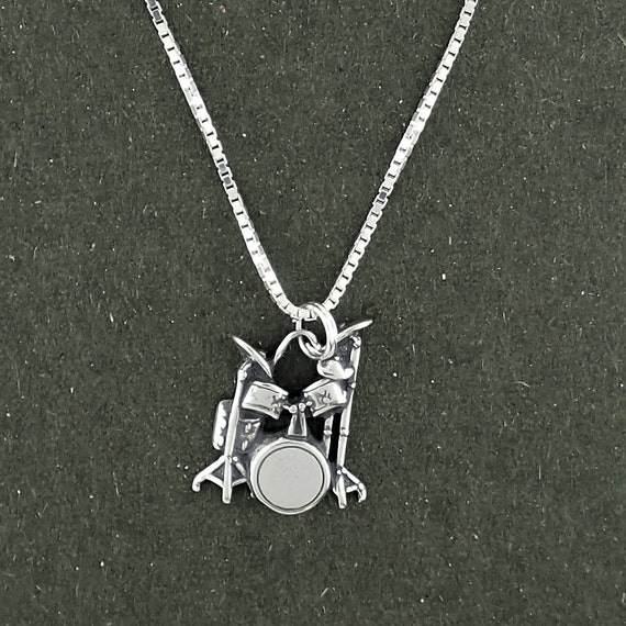 Sterling Silver Womens 1mm Box Chain 3D Snare Drum Pendant Necklace