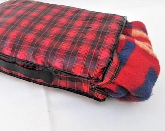 Vintage Lap Blanket   Blanket Throw   Car Blanket   Stadium Blanket   Lap Throw   Camping Gear   Vinyl Carrying Case – As Is