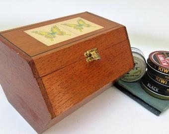 Vintage Cigar Box | Shoe Shine Box | Wooden Box | Travel Shoe Box | Hexagon Wood Box | Shoe Shine Caddy
