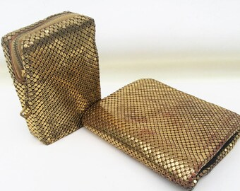 Vintage Whiting Davis Purses   Mesh Purses   Gold Mesh Wallet   Cigarette Case   Whiting and Davis Bags – Lot of 2 – As Is
