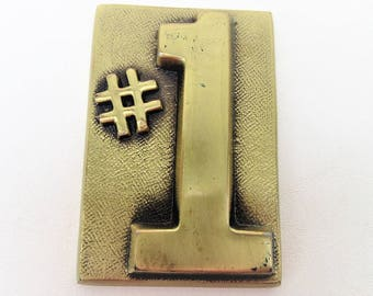 Vintage Brass Paperweight | Brass Plaque | No 1 Sign | Gift for Father | Desk Paper Weight | Brass Sign