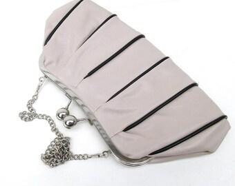 Vintage Purse | Clutch Bag | Taupe Handbag | Clutch Purse | Shoulder Bag | Black Stripes Bag