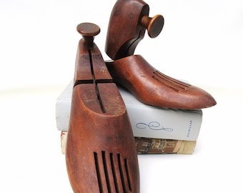 Antique Wooden Shoes | Shoe Stretchers | Shoe Forms | Store Display | Rustic Wall Hooks