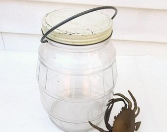 Vintage Pickle Jar | General Store Jar | Large Glass Jar | Counter Display | Glass Jar with Metal Lid | Glass Canister