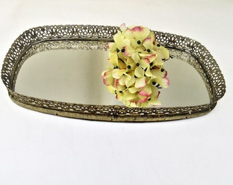 Vintage Brass Mirror | Perfume Tray | Mirrored Vanity Tray | Gold Filigree Mirror | Mirrored Display | Centerpiece Mirror | Display Mirror