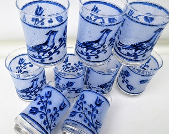 Vintage Juice Glasses | Orange Juice Glasses | Bird Glassware | Libbey Glasses | Blue White Glasses | Set of 7