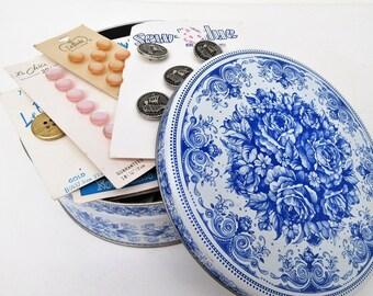 Vintage Card Buttons   Blue White Tin   Button Box   Sewing Buttons   Button Box   Buttons   Craft Buttons