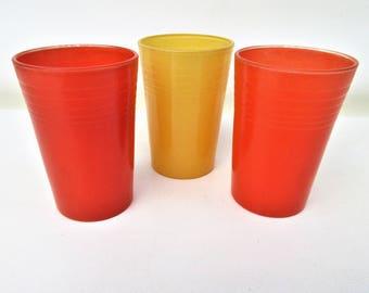 Vintage Juice Glasses | Orange Juice Glasses | Small Bar Glasses | Small Tumblers | Orange Yellow Glasses
