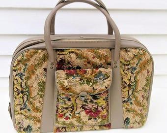 Vintage Overnight Bag | Carpet Bag | Tapestry Bag | Huge Carpet Purse | Carry On Case | Carpet Bag Luggage | Original Key | Floral Suitcase