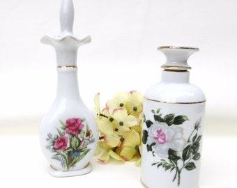 Vintage Vanity Bottles | Perfume Bottles | Scent Bottles | Porcelain Decanters | Porcelain Bottles | Dresser Decor - Lot of 2