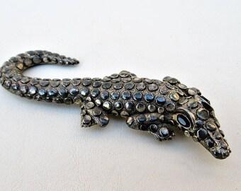 Vintage Alligator Brooch | Alligator Pin | Animal Brooch Pin | Crocodile Brooch | Large Hat Pin