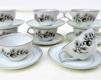 Vintage Kent China | Cups and Saucers | Flat Cup Saucer | Coffee Cup Saucer | Teacup and Saucers | Silver Pine | Tea Cups Sets | Set of 8