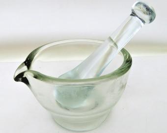 Vintage Mortar and Pestal | Glass Mortar Pestal Set | Pharmacy Tools | Herb Grinder | Medical Collectible | Manual Grinder