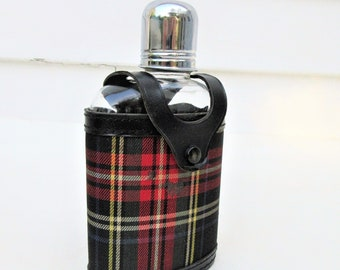 Vintage Flask | Swank | Flask Bottle | Hip Flask for Men | Hip Flask Set | Tartan Plaid | Plaid Case