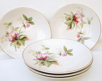 Vintage Rose Bowls | Serving Bowls | Salad Bowls | Soup Bowls | 1940s Ceramic Dinnerware | Set of 5